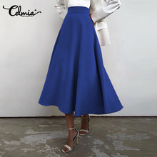 Celmia 2021 Fashion Midi Swing Skirts Women's Elegant Office High Waist Party Skirt Casual Solid Loose Zipper Bottoms Plus Size