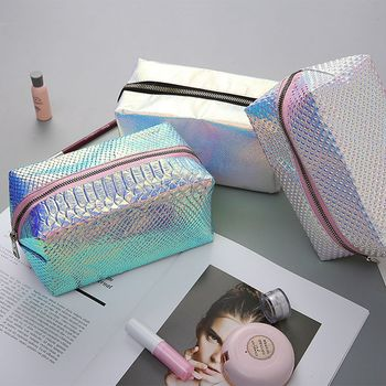 New fashion fish scale pattern laser PU cosmetic bag women wash storage cases casual travel makeup