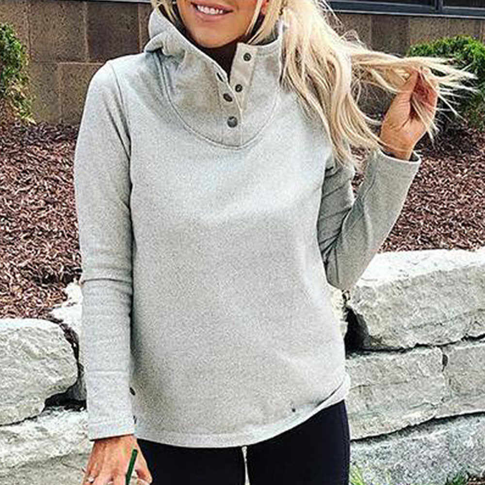 Loose Button Women Solid Color Women Tops Stand Collar Full Sleeve Ladies Winter Warm Teeshirt Sweatshirt Casual Female Blouse