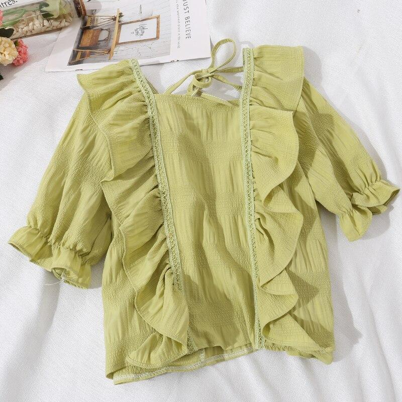 Ruffle Top Short Sleeve Square Neck Shirt Korean Kawaii Clothes Vintage Lolita Blouse Women Summer Blouses 2020 Shirts Tops Pink Blouses Shirts Aliexpress