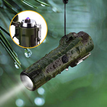 LED Flashlight Waterproof Dual Arc Cigarette Lighter USB Rechargeable Lighter Electronic Plasma Ligh