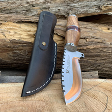 Handmade Natural African yellow flower Handle 440C Blade  SAMSEND hunting tools with leather cover