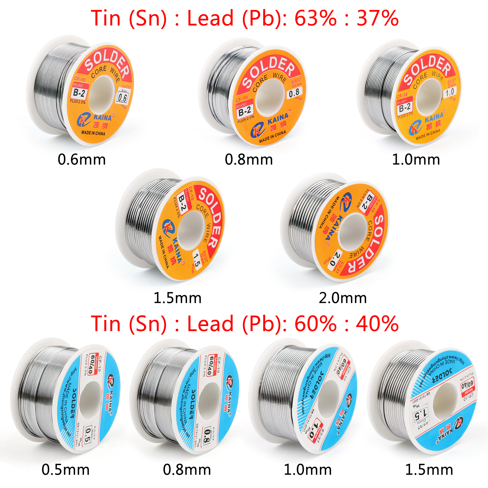 Areyourshop 100g 60/40 63/37 0.5mm / 0.8mm  / 1.0mm / 1.5mm Rosin Tin Lead Solder Wire Welding With 2% Flux For Soldering