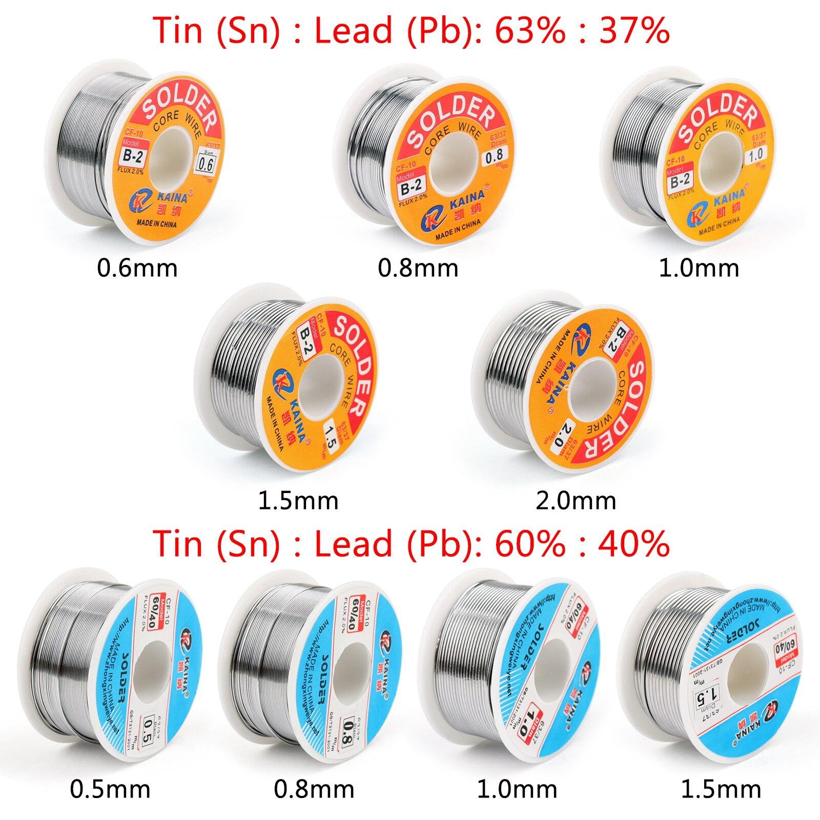 Areyourshop 100g 60/40 63/37 0.5mm/0.8mm/1.0mm/1.5mm rosin tin chumbo solda fio com fluxo de 2% para solda