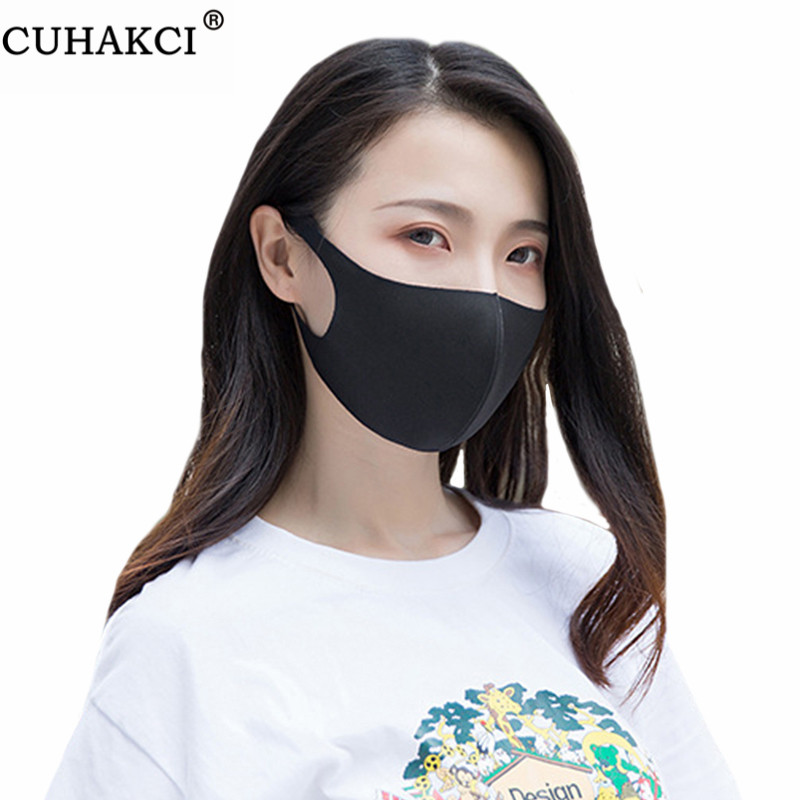 CUHAKCI New 1Pc Washable Mask Anti Dust Environmental Mouth Face Mask Top Fashion Repeated Use Men Women Masks Black Blue Pink