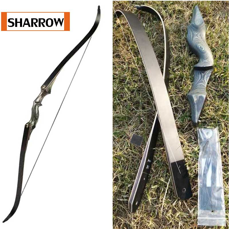 60inch Take Down Recurve Bow Right Hand Black Color Gift Arrow Rest 30lbs 35lbs 40lbs 45lbs 50lbs 55lbs 60bls Hunting Bow