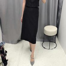 New Office Skirts Women Casual A-Line Black And White Striped Mid-alf Skirt For Lady