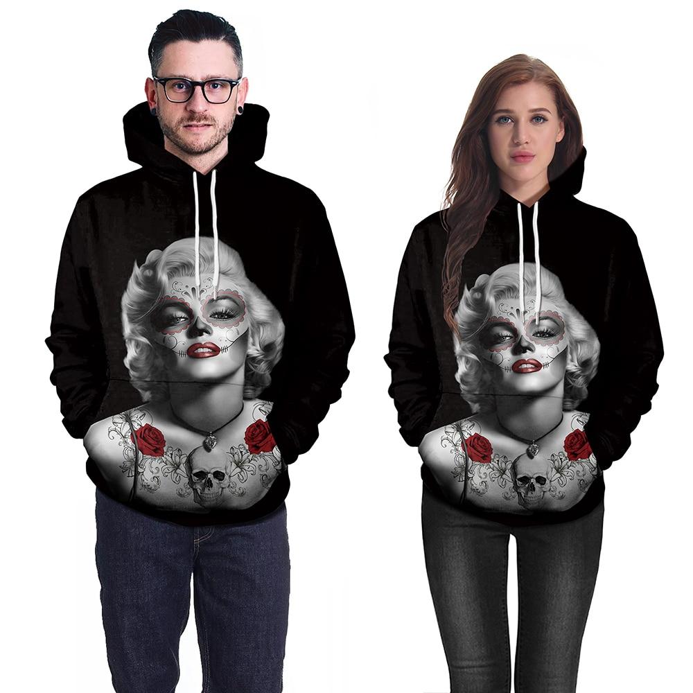 New 3D Cartoon Hoodie Men Autumn Winter Hooded Sweatshirt Fashion 3D Marilyn Monroe Print Hoodie Pullovers