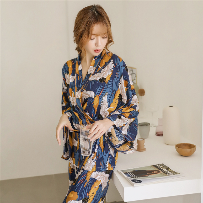 Woman Fashion Pajamas Bathrobe Kimono Pants Set Japanese Style Floral Print Sleepwear Silk Yukata Homewear Nightgown