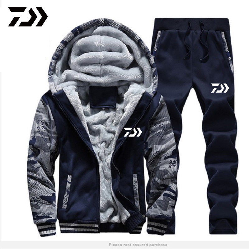 Fishing Clothing Set Autumn Winter Outdoor Sport Camouflage Hiking Fishing Shirts And Pants Men Hooded Fishing Jackets
