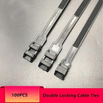 Unique Double Self-Lock Black Nylon Cable Ties Fasten Loop Electrical Wire ties UV Heavy Duty Zip ties 50Pcs 100pcs white self locking cable tie high quality nylon fasten zip wire wrap strap 2 5x100mm 2 5x150mm plastic