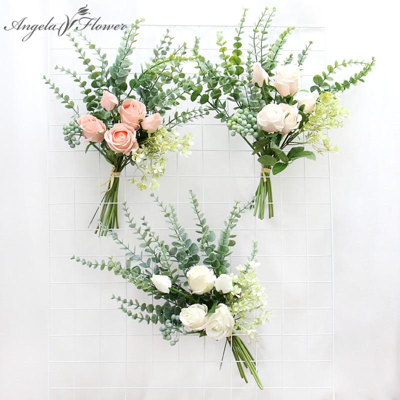 Bulgarische Rose Eukalyptus Mixed Bouquet Valentinstag Geschenk Hochzeit Room Home Tisch Dekoration Gefälschte Rose Blume Wand Materialien