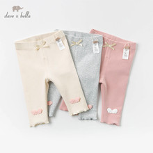 DBJ12806 dave bella spring baby girls fashion bow appliques pants children full length kids pants infant toddler solid trousers
