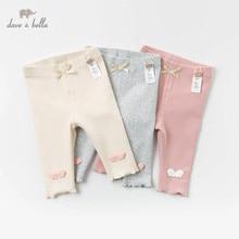 DBJ12806 dave bella весенние штаны для девочек с аппликацией и бантом, детские длинные штаны, однотонные штаны для младенцев