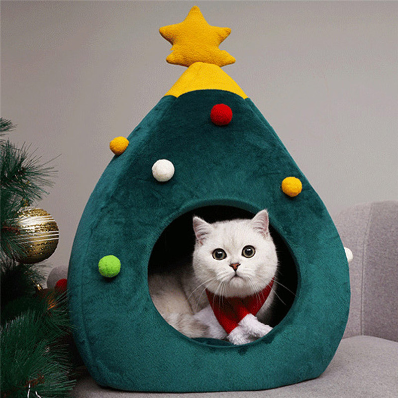 2019 Hot Pet Cat House Dog Bed Kennel Puppy Cave Warm Sleeping Bed Christmas Tree Shape Winter Warm Bed For Cats Dog Cage image