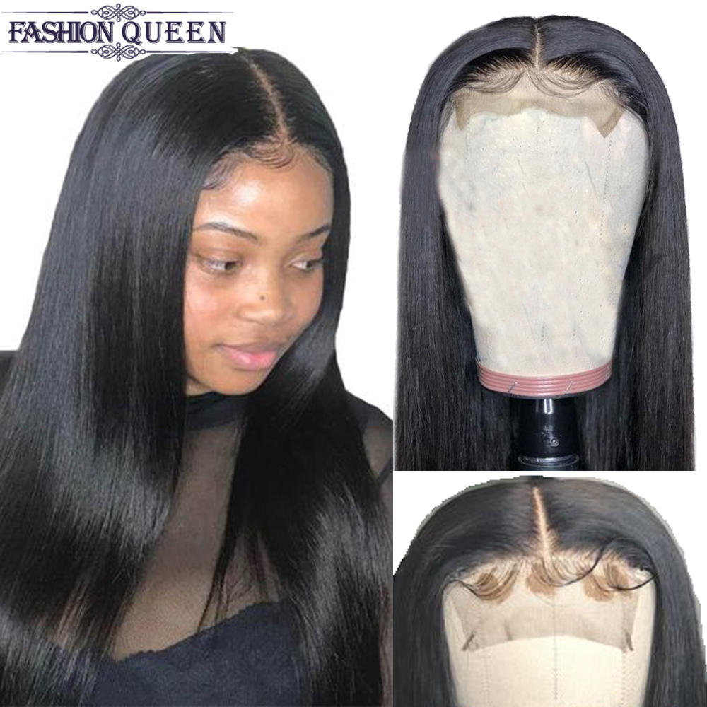 Human Hair Wigs For Women Non Remy 4×4 Lace Closure Wig With Baby Hair Brazilian Straight  Wig Hair Natural/2#/4# Color