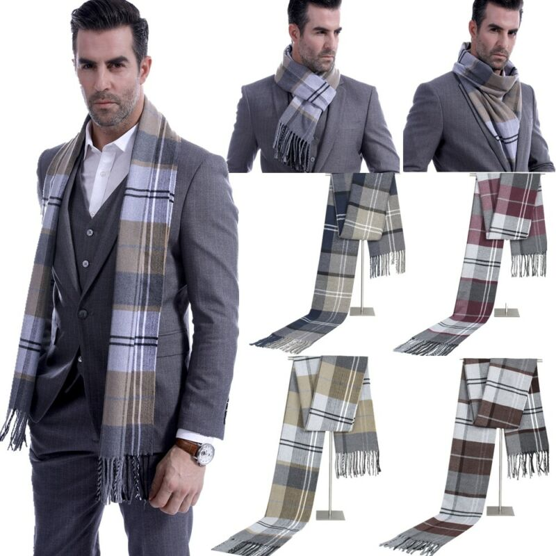 Men Fine Soft Thermal Scarf Check Plaid Warm Winter Shawl Neck Wrap Long Scarf A Birthday Christmas Gifts
