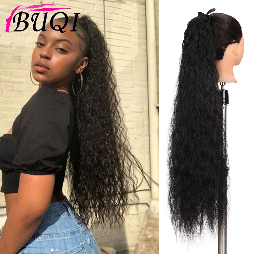Top SaleBUQI 80CM Long Curly Fake Hair Pieces Drawstring Ponytail Black Synthetic High Temperature Fiber Hair Extensions for Women┼