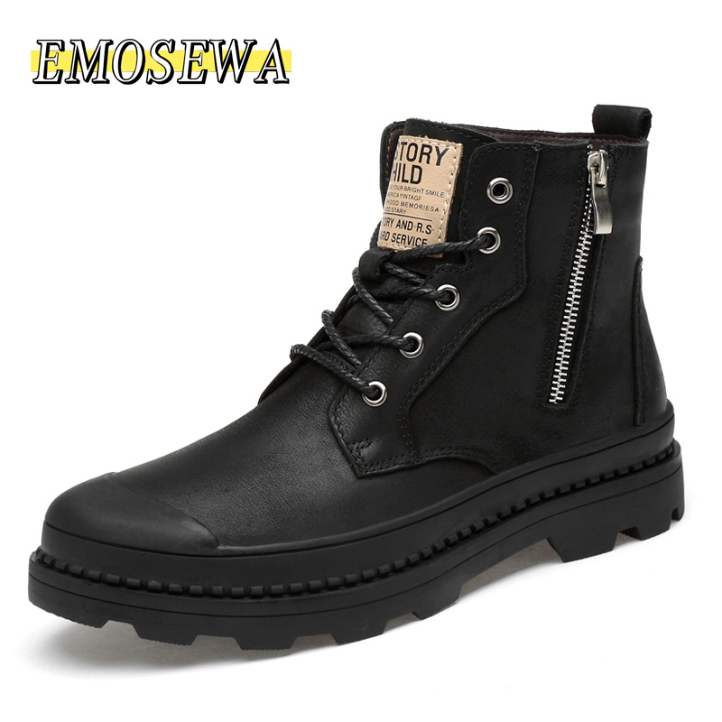 Brand Men Shoes New Genuine Leather Ankle Martens Boots For Men Casual Motorcycle Shoes Warm Winter Men Boots Work Safety Shoes
