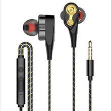 Auriculares con cable, bajos altos, unidad Dual, estéreo, auriculares con micrófono, auriculares de ordenador para teléfono móvil (altavoz individual)