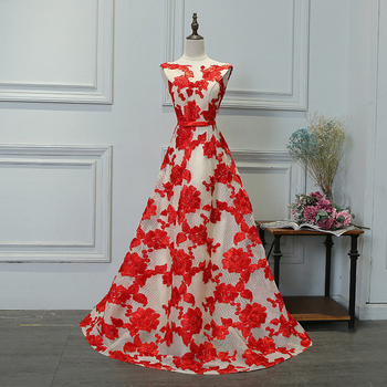 Prom Dress with Sashes Long Dress A-Line V-Neck Floor-Length Sleeveless Lace Elegant  Red