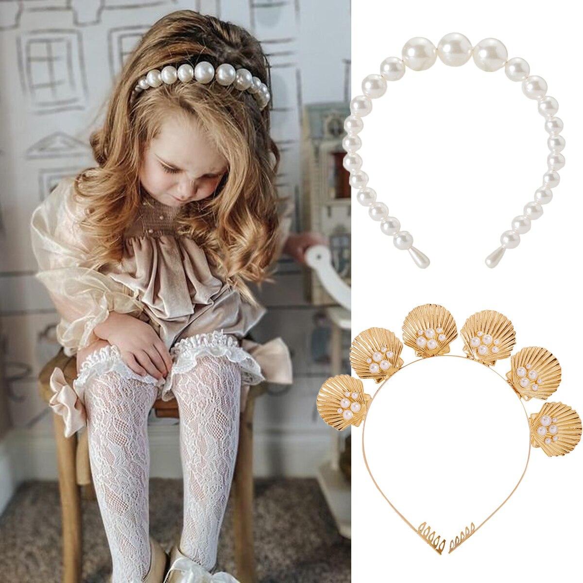 Детское платье принцессы, с обручем для волос, жемчуг, повязка на голову, повязка на голову, белые заколки-бабочки для волос аксессуары для в...