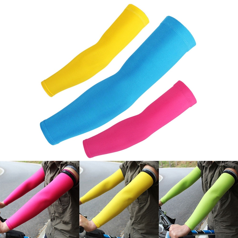 1Pair UV Protection Arm Sleeves With Anti-Slip Tattoo Covers Compression Sunblock Ice Silk Cooling Athletic Sleeves