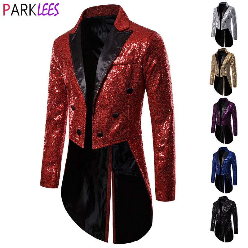 Shiny Red Sequin Glitter Tuxedo Blazer Men Double Breasted Wedding Party  Tailcoat Suits Mens Stage Prom Halloween Costume Homme
