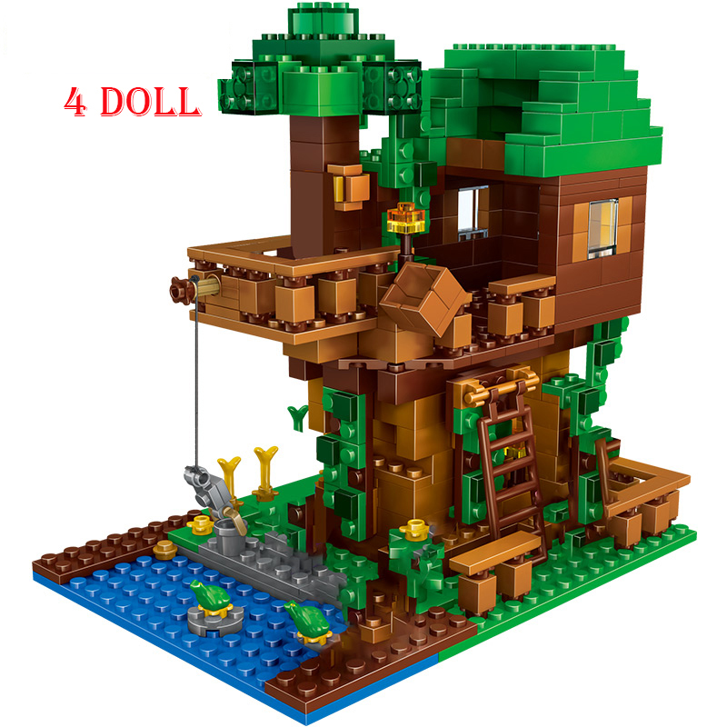 Домик на дереве, маленькие строительные блоки, наборы со Стивом, фигурки, совместимые с моим миром, набор кирпичей, подарки, игрушки