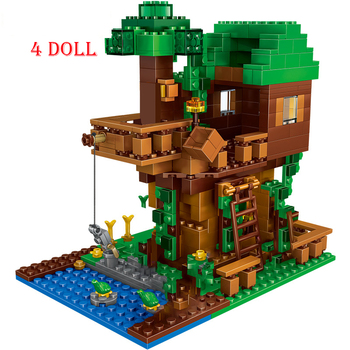 The Tree House Small Building Blocks Sets With Steve Action Figures Compatible  My World Bricks Set Gifts Toys the tree house small building blocks sets with steve action figures compatible my world bricks set gifts toys