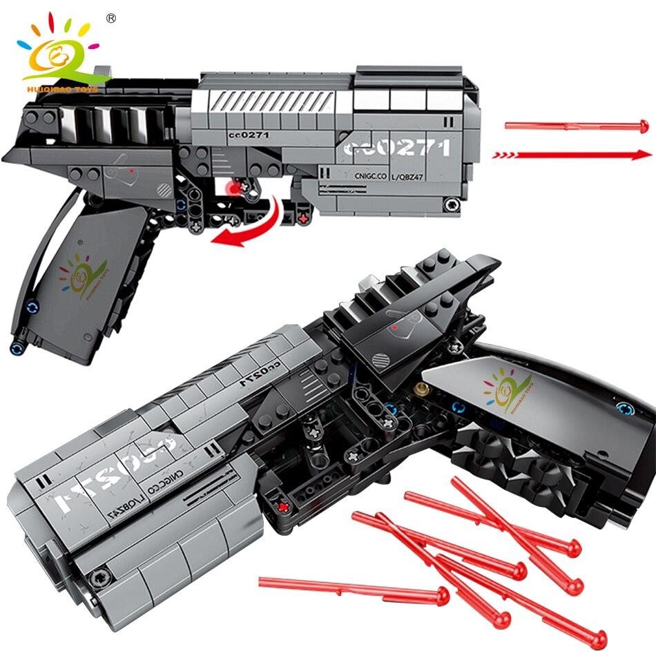 HUIQIBAO, 431 Uds., pistola de señal de tierra errante técnica, juego de bloques de construcción, ladrillo de ciudad, juguete educativo de tiro DIY para niños|Bloques|   - AliExpress