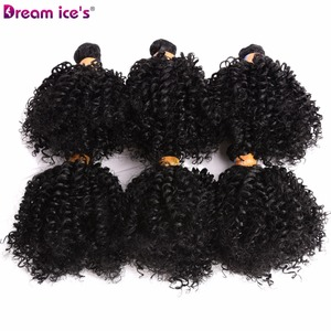 Image 4 - Dream Ices Bouncy Curly Synthetic Weave 6 Pcs/lot Natural Short Hair Welf Bundles Black Hair Weaving 6 Inch