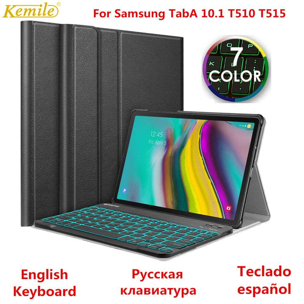 Russian Spanish Case For Samsung Galaxy Tab A 10.1 2019 Keyboard Case T510 T515 SM-T510 SM-T515 Cover 7 Colors Backlit Keyboard