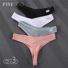 FINETOO 3Pcs/set Women Thongs Soft Cotton G-String Panties Sexy V Waist Underpants Female Underwear M-XL Girl Thong Bikini Panty