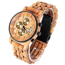 JUNQIAO Military Watches Men Sandalwood Quartz Wristwatch Chronograph Clock Male