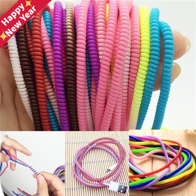 1/10Pcs/lot Spiral USB Data Charger Cable Cord Protector Wrap CableDIY Winder For iPhone 5 6 6S 7 8 Plus For Samsung HTC 50cm