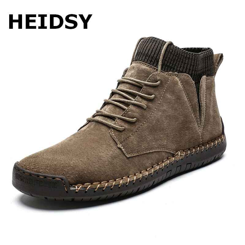 Winter Warm Men Snow Boots Quality Suede Waterproof Male Ankle Boots Non-slip Autumn Men Work Shoes Plush Warm Motorcycle Boots
