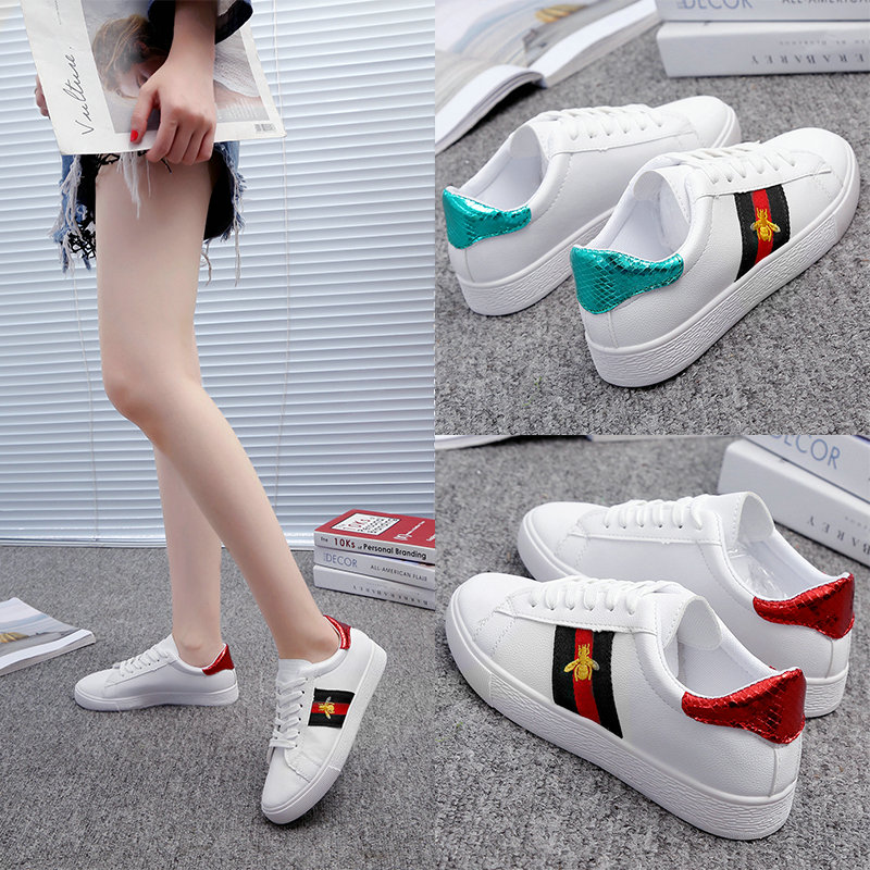 Summer Women White Casual Shoes Embroidered Bee Breathable Flats Fashion Sneakers Women Vulcanization Shoes