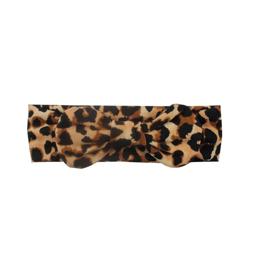 Diadema para bebé niña para bebés recién nacidos turbante para bebé con lazo estampado de leopardo banda para el pelo de princesa accesorios para la cabeza