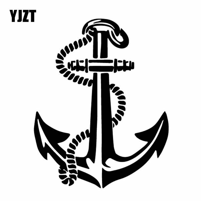 YJZT 12CM*15.2CM Ship Boat Anchor Rope Delicate Seaman Travel Vinly Decal Nice Car Sticker Black/Silver C27-0594