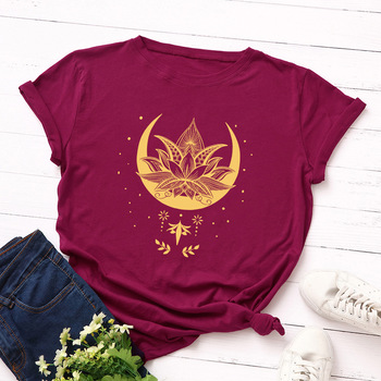 2020 New Lotus Women Tshirt Cotton Casual Funny T Shirt Girl Short SleeveT-shirt Femme Harajuku T Shirt Women Tops 1