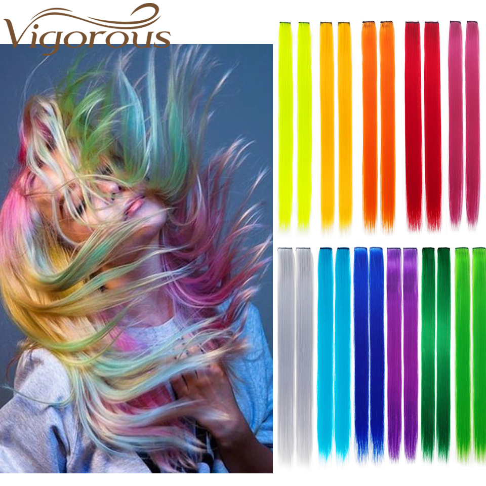 Vigorous Straight Clip In One Piece Long 20inches 45Colors Heat-resistant Synthetic Extension Hair Rainbow Strand