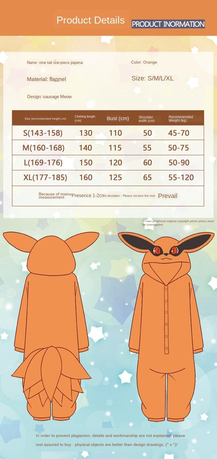 Pijama de flanela para cosplay de anime