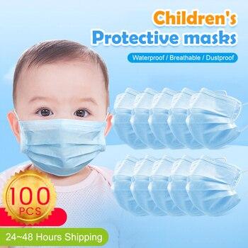 100PCS disposable kids care mask anti dust bacteria flu respirator safety face masks child mask pk ffp3 ffp2 n95
