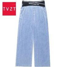 Tvzt женские джинсы с высокой талией одежда широкими штанинами