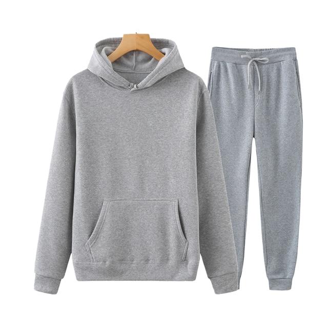 Ladies Suit Hoodie + Pants Fall/Winter Hooded Sweatshirt Sweatpants Fashion Slender Ladies Suit Hoodie Pants Pullover Hoodie 2