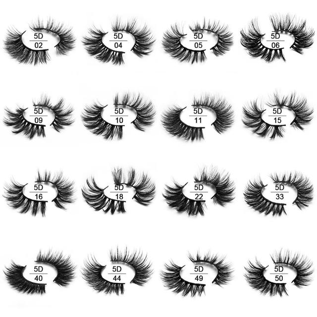 SEXYSHEEP 5Pairs 20-25mm 3D Faux Mink Hair False Eyelashes Natural/Thick Long Eye Lashes Wispy Makeup Beauty Extension Tools 4