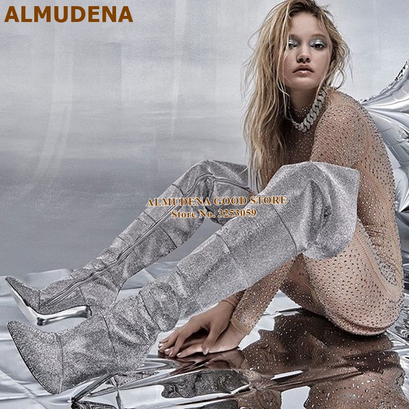 ALMUDENA Silver Crystal Bling Bling Over The Knee Boots Designer Glitter Pointed Toe Thigh High Boots Stiletto Heel Wedding Shoe
