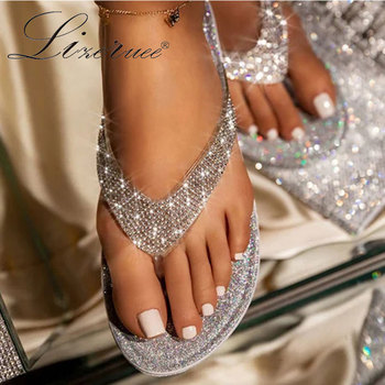Lizeruee Flip Flops Slippers Women Slides Bling Rhinestone Ladies Beach Shoes Casual Summer Flat Female Crystal Glitter Slippers sequins women slippers closed toe bling gladiator sandals flip flops glitter flats lady slides wedding shoes eyes sandalias 40