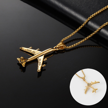 OQEPJ Trendy Air Plane Necklace Pendant 316L Stainless Steel Air Plane Necklace Gold Silver Color High Polished Men Jewelry Gift magnetic necklace for women men gold black silver color 316l stainless steel necklace magnets jewelry power health unisex gift